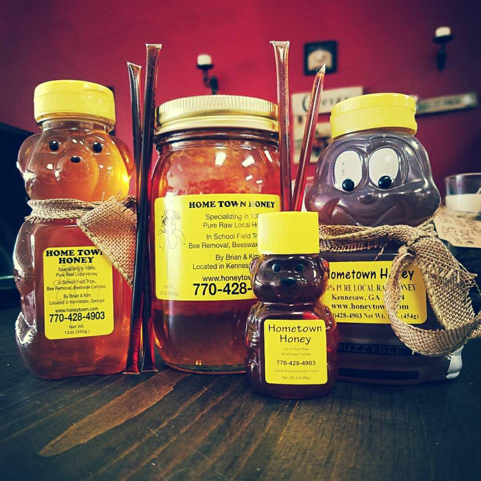 four Hometown Honey bottles