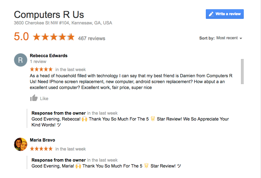 computers r us google review screenshot